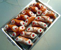 Miniature Italian cannoli metal tray by miniacquoline on Etsy