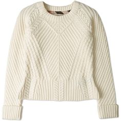 Burberry Brit Natural White Peplum Cable Knit Jumper (£215) ❤ liked on Polyvore featuring tops, sweaters, shirts, jumpers, cable knit sweater, white sweater, white cable sweater, white cable knit sweater and cable sweater