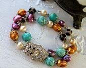 Vintage Rhinestone Clasp Bracelet Adorned with Pearls and Gemstones Assemblage Bracelet... Arrived