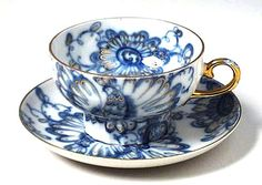 "Russian Teacup ""Singing Garden"" from Lomonosov Porcelain"