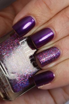 Butter London HRH with an accent nail topped with Lovely Jubbly | from Grape Fizz Nails