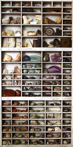 rock collection organized by color