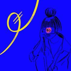 #drawing #outline #woman #illustration #art #digitalart #color #line #stroke #blue #emotions #nokia #photo #flash