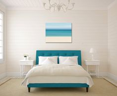 Canvas Wall Art Abstract Photo Print Caribbean Ocean Beach Blue Teal Turquoise Beige White Soft Muted Relaxing Tropical Home Decor