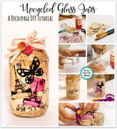 A Decoupage DIY Tutorial for teens - Decoupage (aka Mod Podge Insanity)  - decoupaged small pieces of a beautiful paper napkin onto old glass bottles. Upcycle a mason jar into a gorgeous pen stand. Ric rac , Modge podge , dictionary decoupaged. Step by step video tutorial.