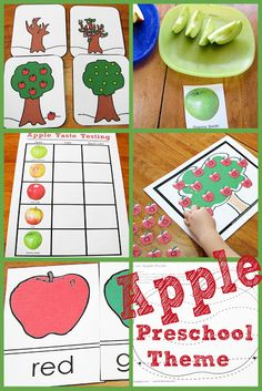 Today we did an Apple Theme for preschool. I was real excited because my 3 year old loves apples! Preschool Apple Theme, Apple Activities, Fall Preschool, Preschool Curriculum, Preschool Themes, Preschool Lessons, Preschool Classroom, Autumn Activities, Preschool Apples