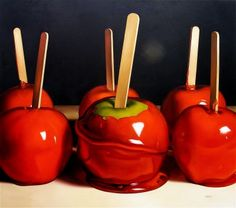 Candy Apples, 2009 oil on canvas by Margaret Morrison, courtesy of Woodward Gallery, NYC
