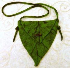 Green Leaf Bag Purse Tree Elf Fairy Hand Felted Textile Fabric Spring Nature