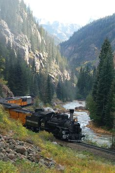 The towns of Silverton and Durango, Colorado. This is the Silverton and Durango Narrow Gauge Railroad. An all day train ride through the San Juan National forest from Durango to Silverton on an old steam train from the 1800's is 50 miles one way, but well worth it for the magnificant views!: