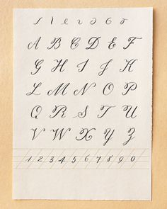 Loops and scrolls: More free-form and less rule-bound than the lowercase alphabet, uppercase lettering allows you to give your script a personal flourish. The seven strokes at the top of this page are used in many of the letters. Many of these uppercase letters cannot be connected to the letters that follow them, which adds to their noble appearance.As for numbers, it's important to practice numerals if you'll be calligraphing dates. Use the numbers shown here as models, breaking each one