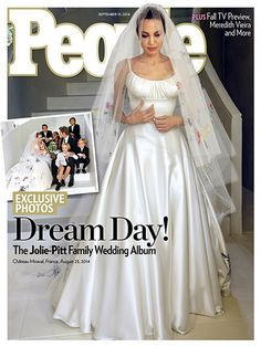 The first photos of Angelina Jolie's wedding dress have appeared online, courtesy of People and Hello magazines.