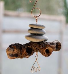 Wind Chime Natural Driftwood Beach Stones Brass Chimes