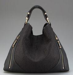 Rachel Zoe Collection Joni Raffia and Leather Hobo.  Nice black handbag.