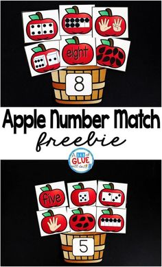 One of my favorite ways to do this is by incorporating themed centers into the classroom, like this Apple Number Match math center. My students are always so excited for their centers that sometimes I wonder if they even know that they are doing work and Kindergarten Math Activities, Preschool Math, Math Classroom, Teaching Math, Numbers Kindergarten, Seasons Kindergarten, Kindergarten Apples, Counting Activities, Free Activities