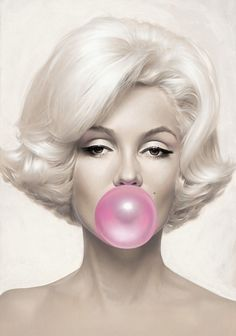 Marilyn Monroe Blowing a Big Pink Bubble Gum Bubble. This image will be printed to the highest standards on the highest quality ice white satin pearl ice white photo paper (Gallery Quality). This is available in 2 sizes:- Standard x x Or Standard x Blowing Bubbles, Pink Bubbles, Arte Marilyn Monroe, Marilyn Monroe Wallpaper, Marilyn Monroe Painting, Pop Art, Pin Up, Hollywood, Glamour