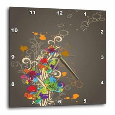 3dRose Pretty Flowers and Birds Abstract Modern Vector Design, Wall Clock, 10 by 10-inch