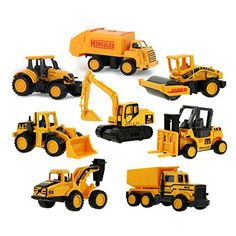 Coolplay Diecast Metal & Plastic Mini Construction Vehicle Engineering Car Artificial Model Toy (Pack of 8) - Toys 4 My Kids