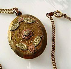 Victorian Photo Locket, Flower Leaf Theme, 12k Goldfilled Ornate Oval, Black Hills Gold, Edwardian Locket, Rose, Green, Yellow Gold by GemParlor on Etsy
