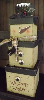 25% off Christmas and Winter Primitives at www.finecountrylivingprimitives.com Welcome Winter Stacking Boxes Snowman