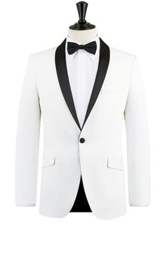Selected Homme White Slim Fit Tuxedo Jacket with Black Shawl Lapel
