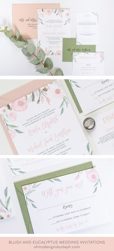 Floral Wedding Invitations Blush and Green Invites by oh my designs