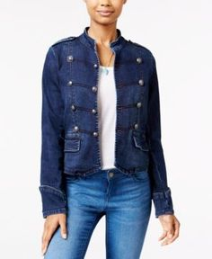 American Rag Denim Band Jacket, Only at Macy's - Blue XS
