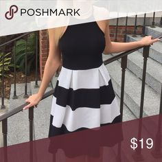 SALE❗️Black and White Skater Formal Stripe Dress NWOT. Price is firm. No flaws. No trades! Dresses