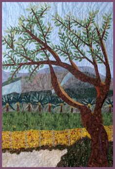 Holy Land Kibbutz Landscape Quilt Art Wall Hanging.