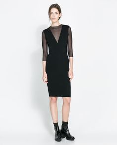 Image 1 of DRESS WITH SHEER NECKLINE from Zara