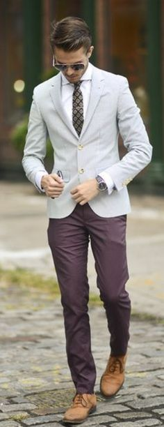 Gray Poplin Jacket, Plum Slim Fit Chinos, and Tan Suede Loafers. Men's Spring Summer Street Style Fashion.