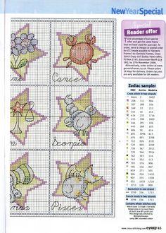 Children's Zodiac Stars Free Cross Stitch Patterns znaki zodiaku 2/2