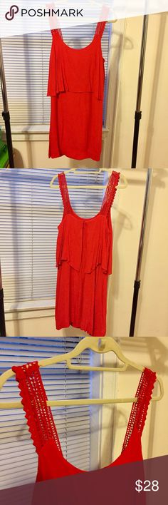 """Red Maeve Dress Cherry red light strap dress. Maeve from Anthro. EUC, worn once. 36"""" length. Anthropologie Dresses Midi"""