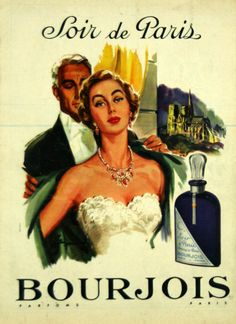 Affiche Bourjois, Soir de Paris -  Parfums - 1950  - illustration de Raymond -
