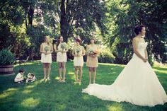 outdoor ceremony, bridesmaids, bride, groom, garden, wedding, dog and baby