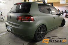 VW MK6 Matte Military Green - Vinyl Car Wrap   Toronto Car Wrap   Restyleit.ca
