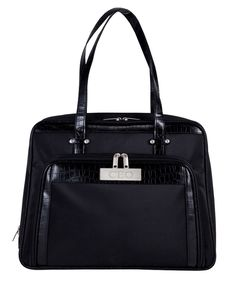 """Black Chic Computer Executive Croc Carry Bag Size: 17""""L x 13""""H x 4.5""""D Now you finally can go to work with style. Instead of carrying a boring computer case, you can now hit the streets with a trendy bag. Go shopping, to the bookstore, or work with your computer or tablet. Store all your office needs in the compartment to keep yourself organized. Made of microfiber with croc leatherette trim ΓÇó Padded sleeve to accommodate the laptop. Unzip back compartment to lay laptop flat…"""