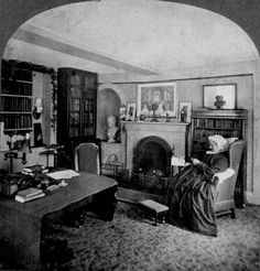 Abba May Alcott reads a letter while sitting in the study of Orchard House. She was the wife of Transcendentalist and teacher Bronson Alcott and the mother of author Louisa May Alcott. Historic New England, Louisa May Alcott, Home Again, Vintage Photographs, Room Interior, New Homes, Study, Portrait, House