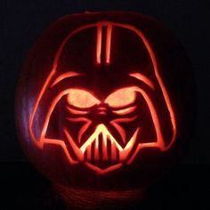 I carved this Darth Vader pumpkin for Halloween this year. Star Wars Halloween Costumes, Halloween Lawn, Halloween Pumpkins, Halloween Crafts, Pumkin Carving Stencils, Pumpkin Stencil, Pumpkin Carvings, Pirate Pumpkin, Scary Pumpkin
