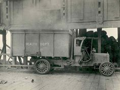Motorized Health Department garbage truck, circa 1920