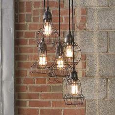 Industrial Pendant | Wire Light Pendant | Industrial Style | Bathroom Design | Bath Decor