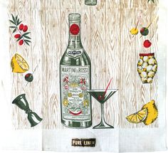 Vintage Tea Towel Martini Rossi Cocktail Glass Bottle Bar Advertising Textile NOS New Old Stock by NeatoKeen on Etsy