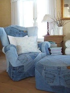 chair and ottoman from old jeans