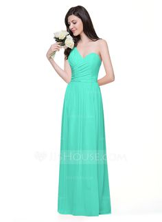 Bridesmaids A-Line/Princess One-Shoulder Floor-Length Chiffon Bridesmaid Dress With Ruffle Bridesmaid Dresses, Prom Dresses, Formal Dresses, Green Bridesmaids, Green Turquoise, Shades Of Green, Strapless Dress Formal, Ruffles, One Shoulder