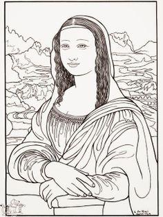 Da Vinci Art Projects for Kids: Renaissance artist Leonardo da Vinci is best known for his realistic portraits. Colouring Pages, Adult Coloring Pages, Coloring Books, Coloring Sheets, Free Coloring, Kids Coloring, Mona Lisa, Famous Artists, Great Artists