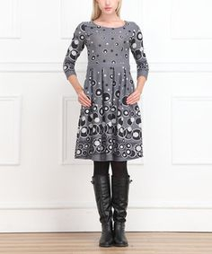 Love this Reborn Collection Gray & Black Circles Scoop Neck Dress - Women by  on #zulily! #zulilyfinds