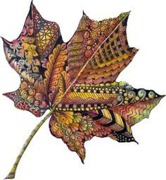 zentangle leaf color pinned from Pauline Coombes️More Pins Like This At #FOSTERGINGER @ Pinterest️