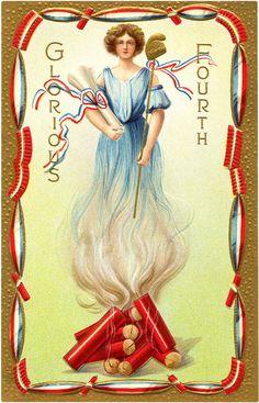 Vintage Firecracker Lady Image - Patriotic! - The Graphics Fairy