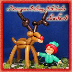 Artmagines Ballong-Julkalender Lucka 8: Ballong-Rudolf med röda mulen går tipp-tapp med ballong-tomtenissen. Vi gör en ny ballong-kreation varje dag fram till jul!