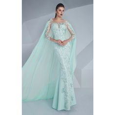 MNM Couture G0603 Evening Dress Long Sleeve ($1,240) ❤ liked on Polyvore featuring dresses, gowns, formal dresses, mint, long-sleeve lace dress, long sleeve dress, mint green dress, long formal dresses and long sleeve gowns