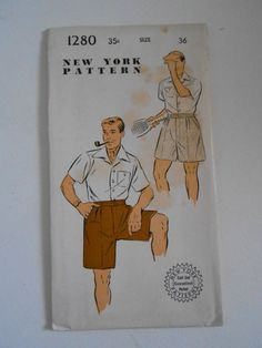 Vintage 50s Men's Sport Shorts Pattern New York by lisaanne1960